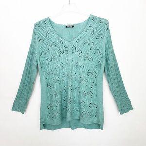 Nic + Zoe Turguoise Blue Loose Knit Sweater size L